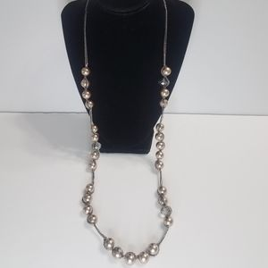 Ann Taylor Loft Necklace Silver Tone Metallic Bead